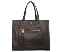 Handtasche, Rindsleder, Reißverschlussfach, Schwarz