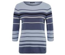Shirt, 3/4-Arm, Rundhals, Streifenmuster, Baumwolle, Blau