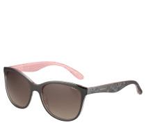 Sonnenbrille, Trapezform, Blumen-Prägung