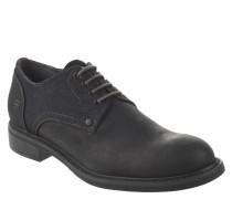 Schnürschuhe, Leder, Schnürung, Derby-Stil, Schwarz