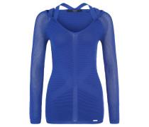 Pullover, Strickkontraste, Schulterträger, Blau