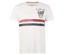 T-Shirt, Baumwolle, Flammgarn, Used-Look-Print, Weiß