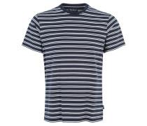 T-Shirt, Streifen-Muster, Reine Baumwolle, Blau