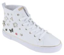 Sneaker, Leder-Optik, Nieten im Patchwork-Stil, Weiß