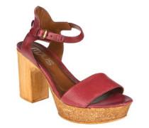 Sandaletten, Vintage-Look, Holz-Optik, Leder