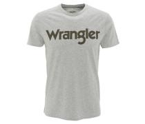 T-Shirt, Marken-Aufdruck, Rundhals, Baumwolle, Grau