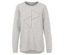 Sweatshirt, meliert, gerippt, Print, Grau