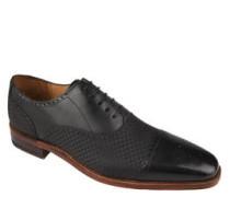 "Schnürschuhe ""Lucquin"", Leder, Carbon-Look, Oxford-Stil"