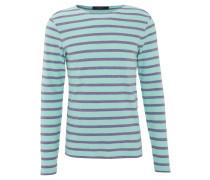 Pullover, Streifen, Baumwolle, Türkis