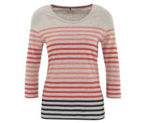 Shirt, 3/4-Arm, gestreift, meliert, Baumwolle
