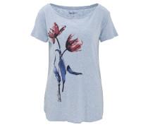"""T-Shirt """"Bettie"""", meliert, Blumen-Print, Seitenschlitze, Blau"""