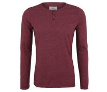 Langarmshirt, Baumwolle, Melange, Henley-Kragen, Rot