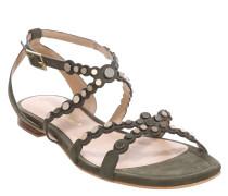 Sandalen, Leder, Nieten-Besatz, Beige