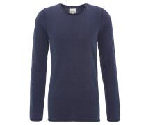 Pullover, Baumwolle, aufgerollte Säume, Blau