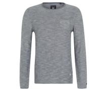 Pullover, Baumwolle, Melange-Optik, Brusttasche, Blau