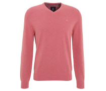 Pullover, Baumwolle, V-Ausschnitt, Langarm, Pink