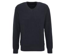 Pullover, Strick, meliert, V-Ausschnitt, Blau
