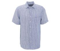 Freizeithemd, Comfort Fit, Leinen, gestreift, Kent-Kragen, Blau