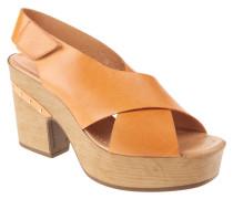 "Sandaletten ""Oasis"", Leder, Nieten-Besatz, Klettverschluss, Orange"