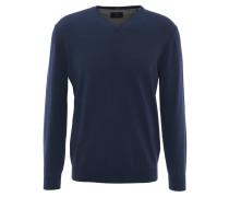 Pullover, uni, V-Ausschnitt, Woll-Anteil, Blau