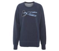 Sweatshirt, Baumwolle, Stickerei, Bündchen,, Blau