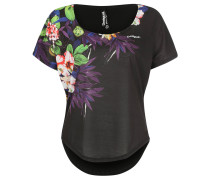 T-Shirt, floraler Print, Oversize, für Damen, Schwarz