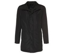 Mantel, gerade Passform, kurzer Stehkragen, Schwarz