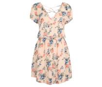Minikleid, florales Design, Chiffon, V-Ausschnitt, Rosa