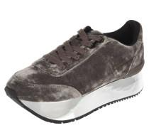 Sneaker, Samt, Metallic-Plateau, Schnürung