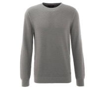 Pullover, strukturiert, Baumwolle, Ripp-Bündchen, Grau