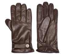Handschuhe, echtes Leder, fein genarbt, Lasche