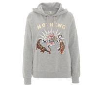 Sweatshirt, Kapuze, Tiger-Stickerei, Grau