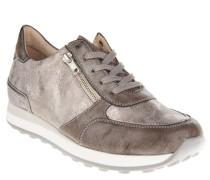 Sneaker, Kunstleder, Glitzer-Optik, Schnürung, Wechselsohle, Silber