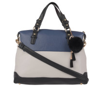 Handtasche, dreifarbig, Kunstfell-Anhänger, Blau