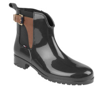 Gummi-Boots, Chelsea-Stil, Schnalle, Einkerbung, Schwarz
