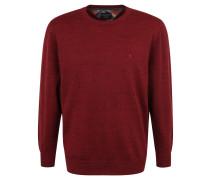 Pullover, Baumwoll-Mix, meliert, Rundhals, Rot