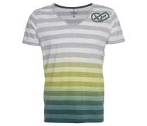 "T-Shirt ""Leeroy"", Streifen-Design, Melange-Optik, Farbverlauf, Grün"