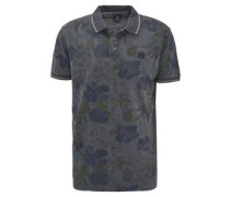 Poloshirt, floral, Tropenblumen-Motiv, Baumwoll-Piqué