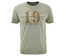T-Shirt, Print, Baumwolle, Oliv