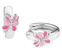 Creolen, Schmetterling, rosa, 925er Sterlingsilber