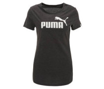 T-Shirt, Melange, Logo-Print, Regular Fit, für Damen