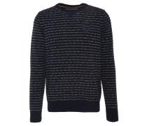 Pullover, Rundhals, Streifen, Logo-Aufnäher, Blau