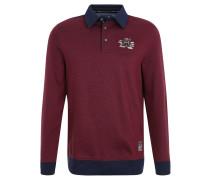 Sweatshirt, Polokragen, Rippbündchen, Rot