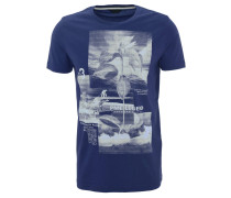 T-Shirt, Print, Baumwolle, Blau