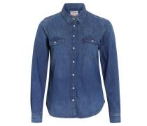 Jeanshemd, Brust- und Schulterpasse, Brusttaschen, Blau