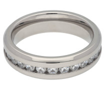 Titan Ring, Zirkonia-Steine, poliert, für Damen