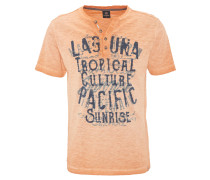 T-Shirt, Print, Flammgarn-Optik, halbe Knopfleiste, Orange