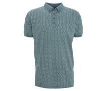 Poloshirt, gemustert, Button-Down-Kragen, Türkis