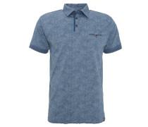 Poloshirt, florales Muster, Brusttasche, Blau