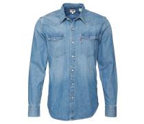 Freizeithemd Jeans, Regular Fit, Druckknöpfe, Blau